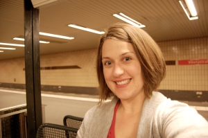 Me, tired but still smiling, in my U-Bahn Station, Vinetastraße